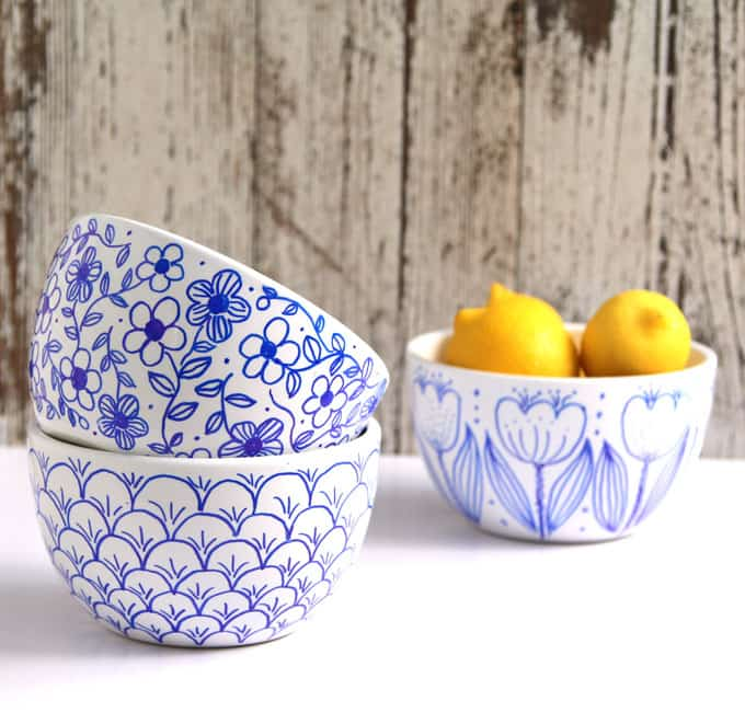 Create beautiful hand drawn designs on white bowls or mugs using a Sharpie marker. Detailed video tutorials! No bake, try this better finishing method! - A Piece Of Rainbow