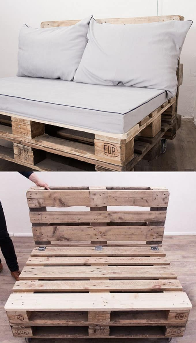 12 easy pallet sofas and coffee tables to diy in one for Sofa table made from pallets