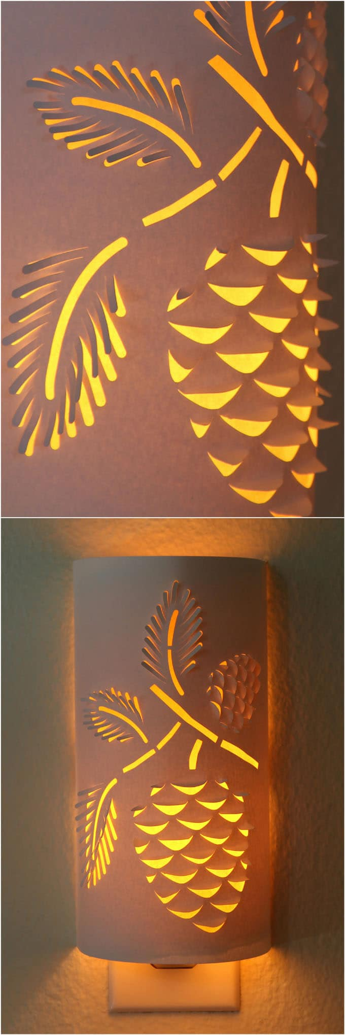 DIY Paper Night Light with pine cone design details