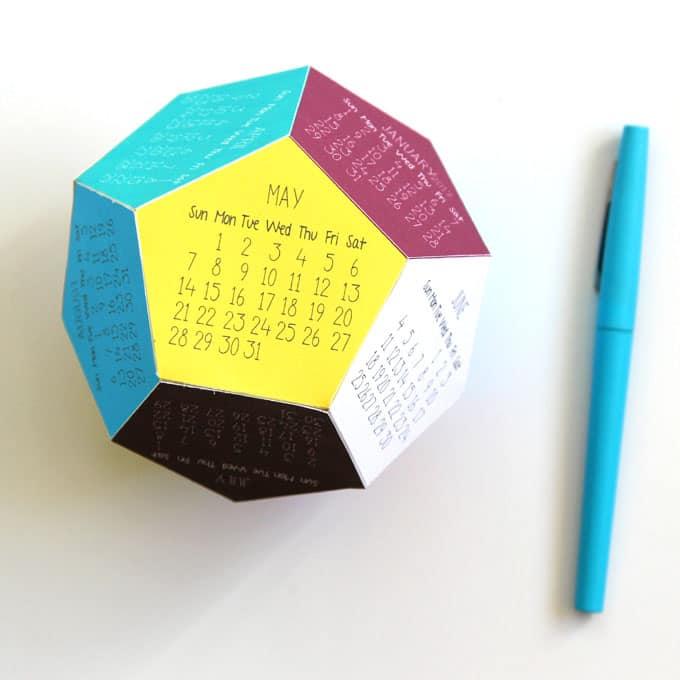 Printable Coloring Calendar 2017 Free : 2017 3d printable calendar a piece of rainbow