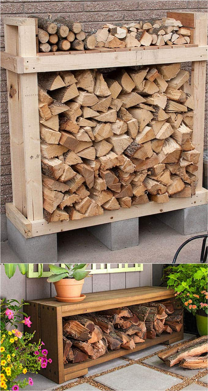 15 firewood storage and attractive firewood rack ideas for indoors & outdoors, from easy DIY log holders to simple firewood shed with great tutorials! - A Piece Of Rainbow #fireplace #storage #organizing #organization #organize #rack #shelf #livingroom #livingroomideas #backyard #familyroom #fall #winter #homestead #homesteading #homedecor #diy