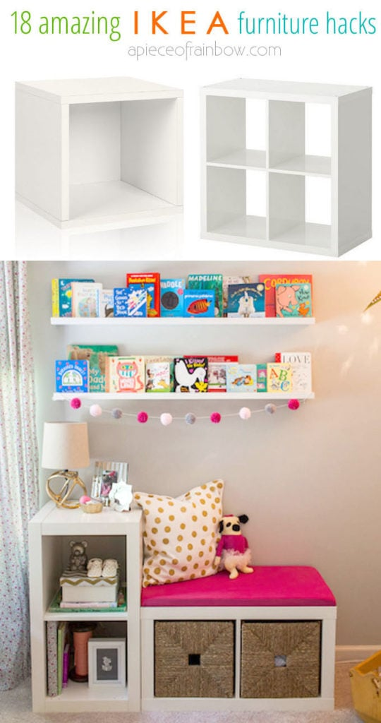 Window seats with storage using IKEA  modular shelving units