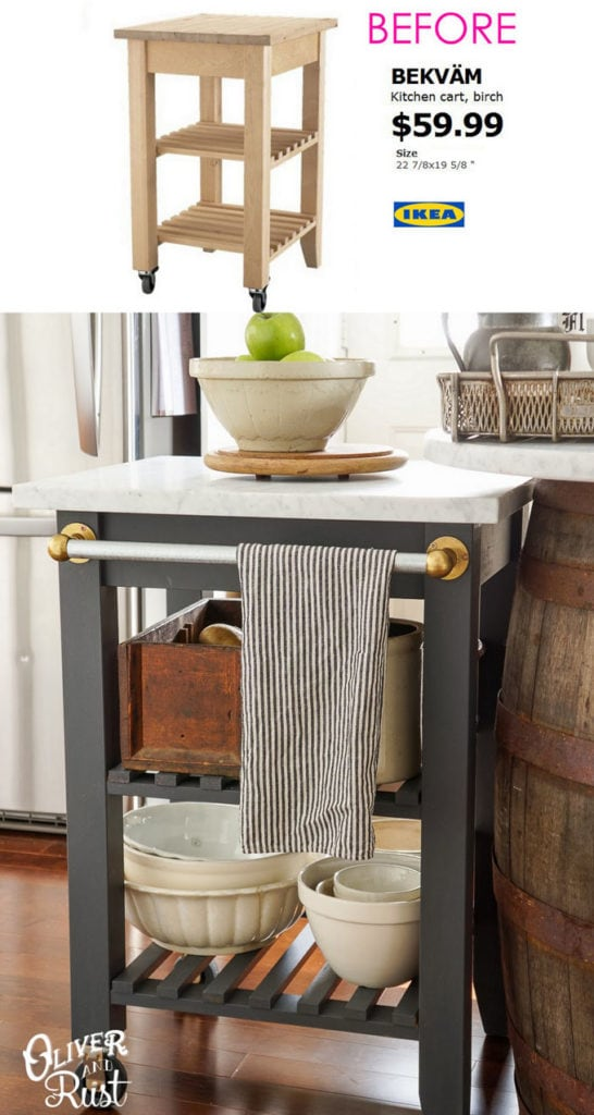 Custom kitchen island DIY with Ikea Bekvam kitchen cart