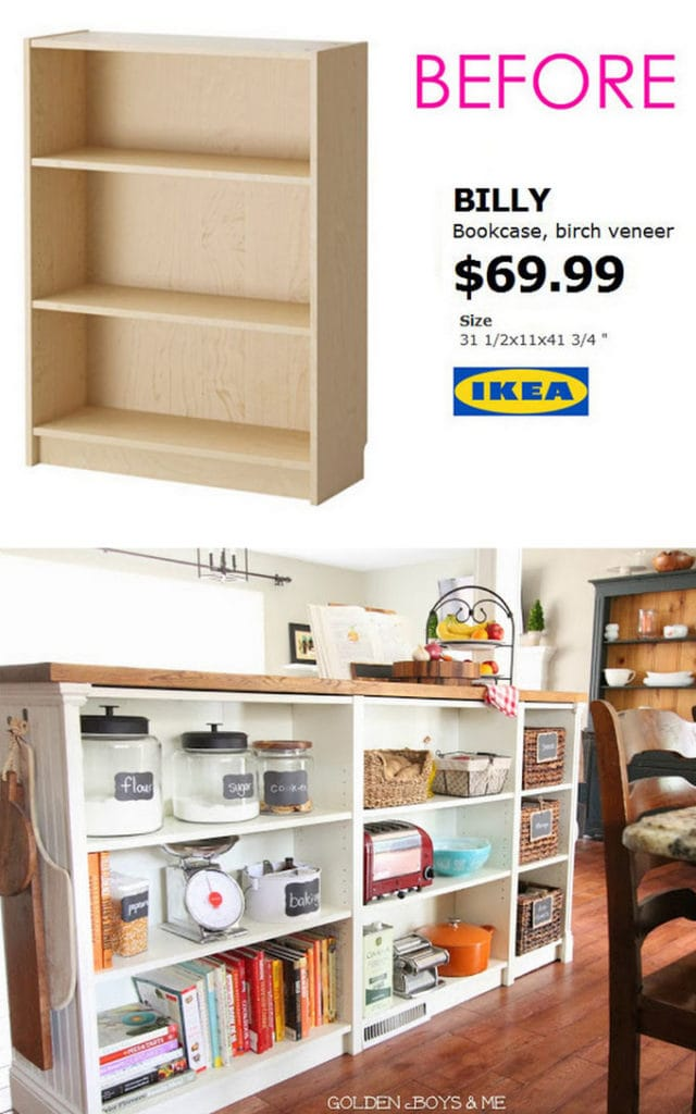 IKEA Billy bookcase kitchen island