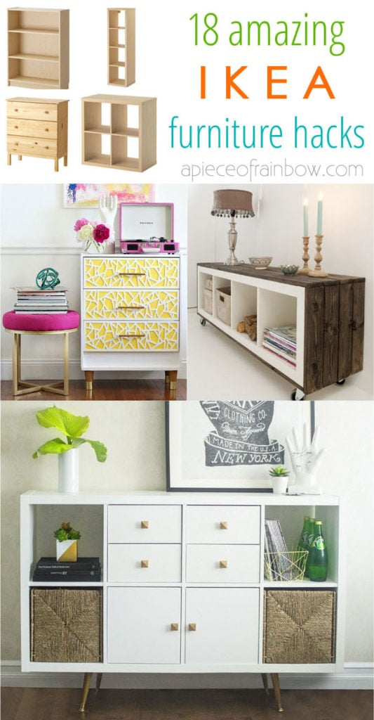 Gorgeous DIY custom furniture with 18 easy IKEA hacks: creative dressers, farmhouse cabinets, bedroom benches, craft room tables, desk, kitchen island, etc! -