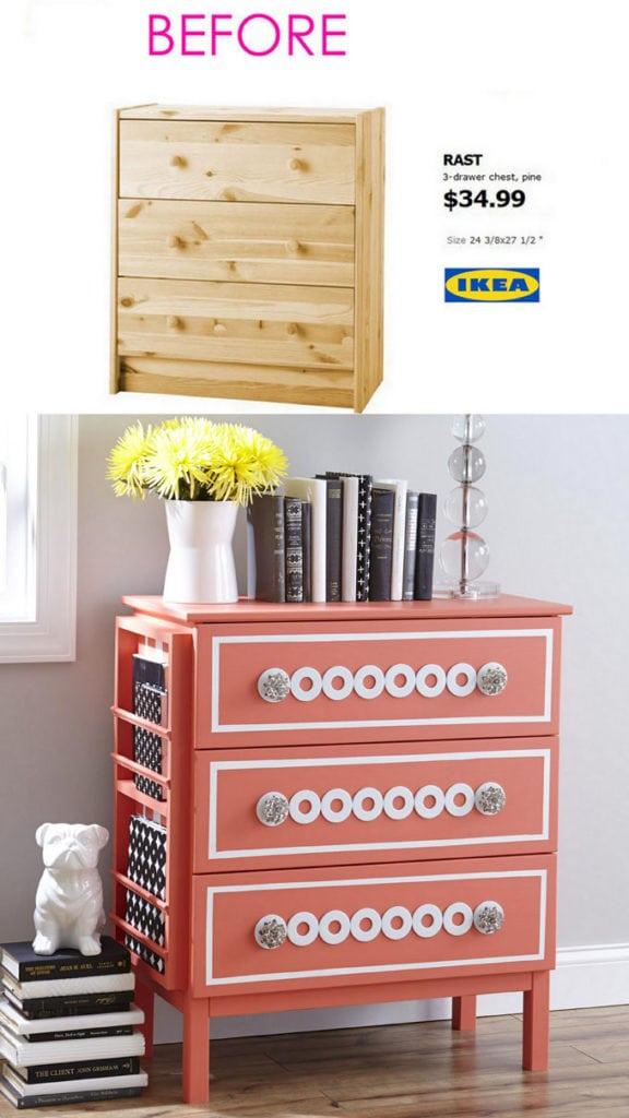 pink Ikea Rast dresser hack