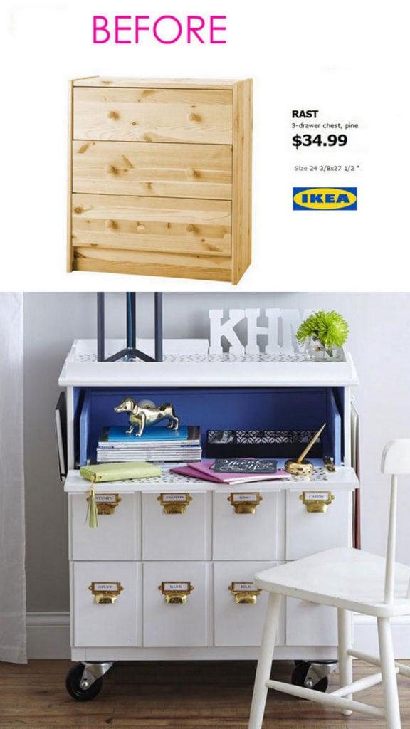 Ikea Rast dresser becomes vintage desk