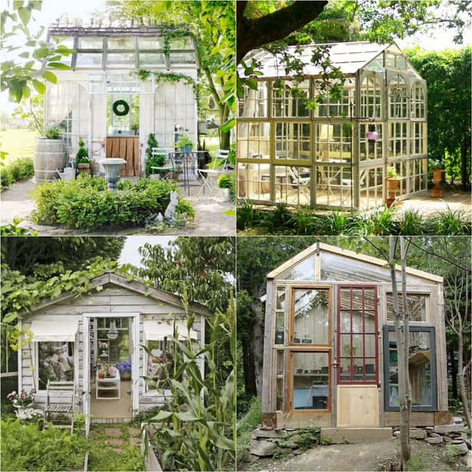 12 amazing DIY sheds : how to create beautiful backyard offices, studios and greenhouses with reclaimed windows