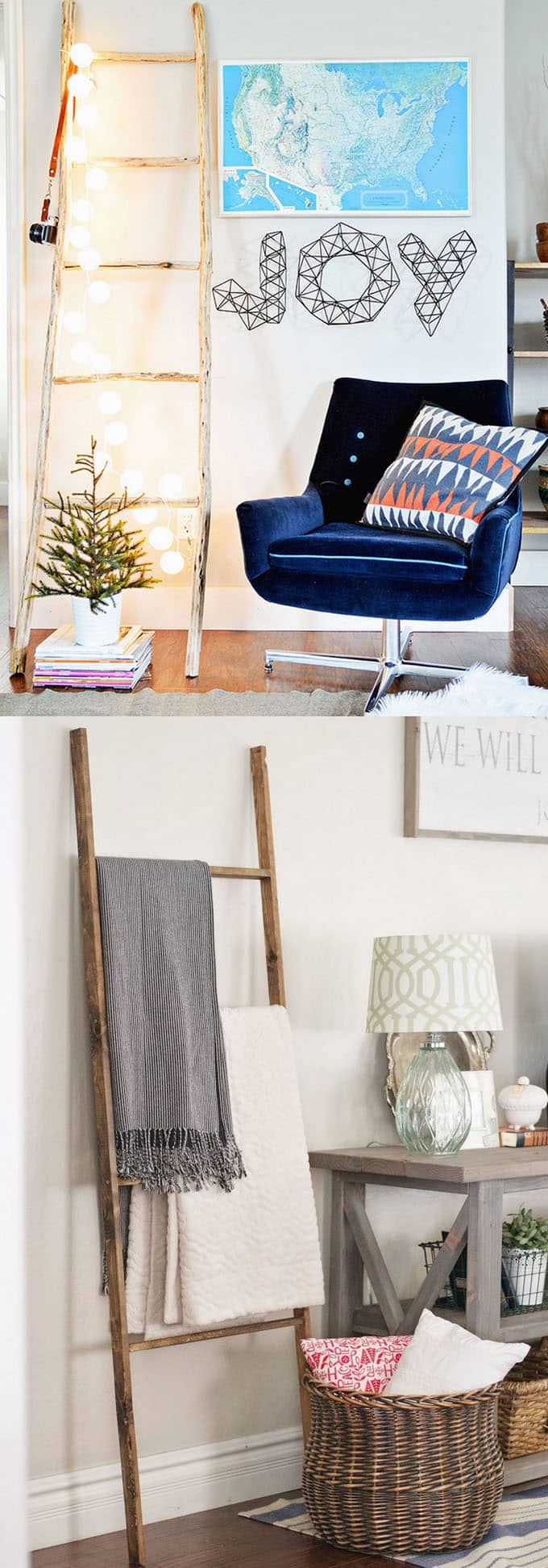 DIY blanket ladders in modern farmhouse style home decor