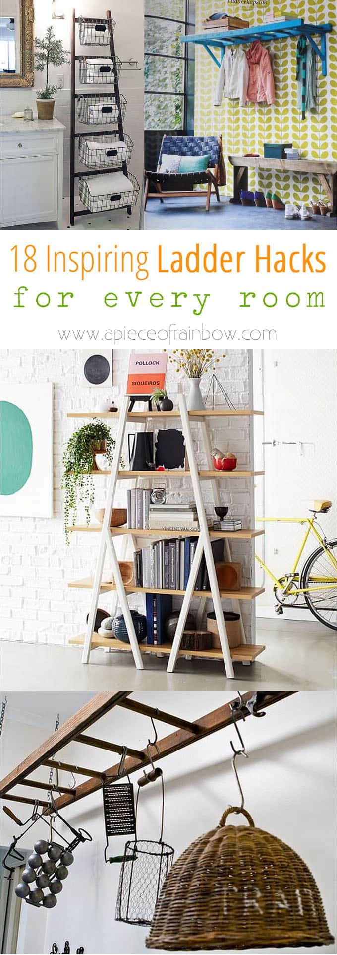 modern farmhouse style home decor ideas using ladders