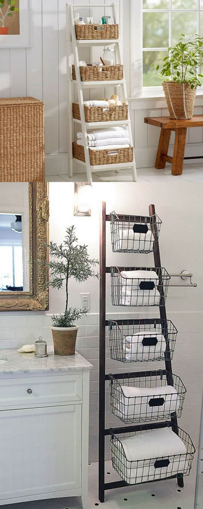 storage wire and wicker baskets on ladders as decorative storage in modern farmhouse style home