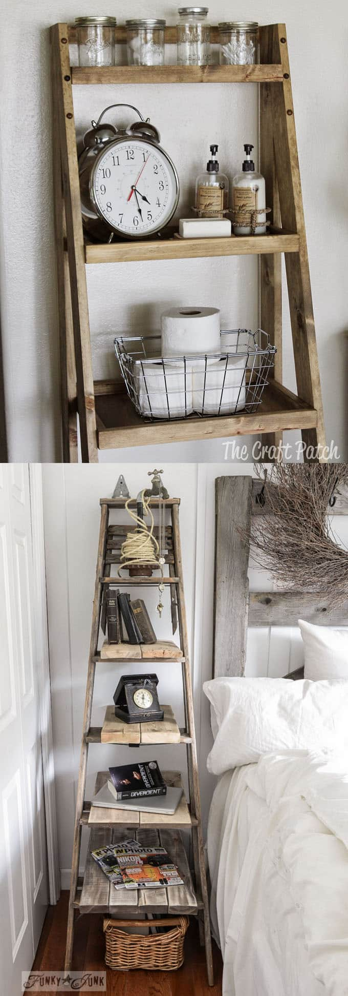 fixer upper style home decor ideas using ladder and vintage finds