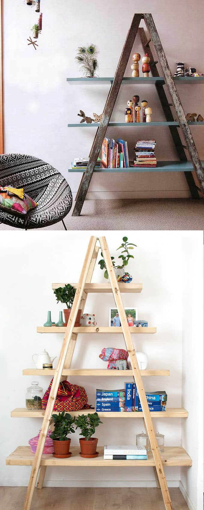 colorful boho style home decor ideas using ladders and plants