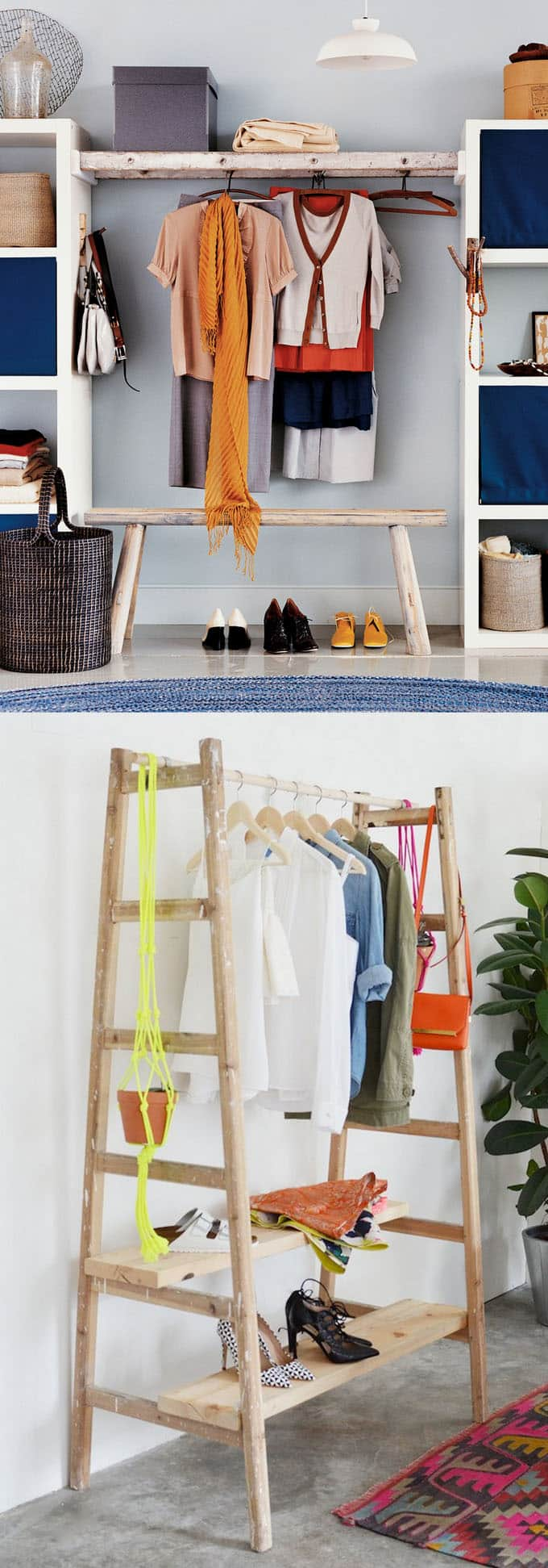 bohemian style home decor ideas using ladders as clothes hanging racks