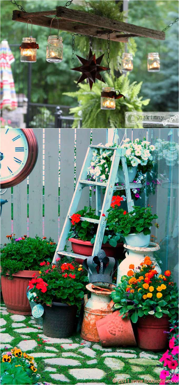 ladders as garden decor