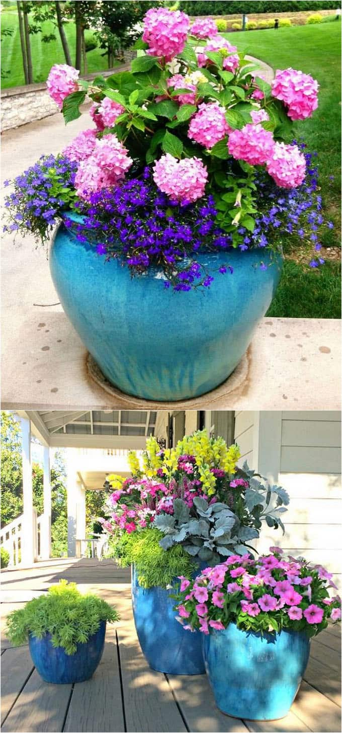 large colorful planters with flowers