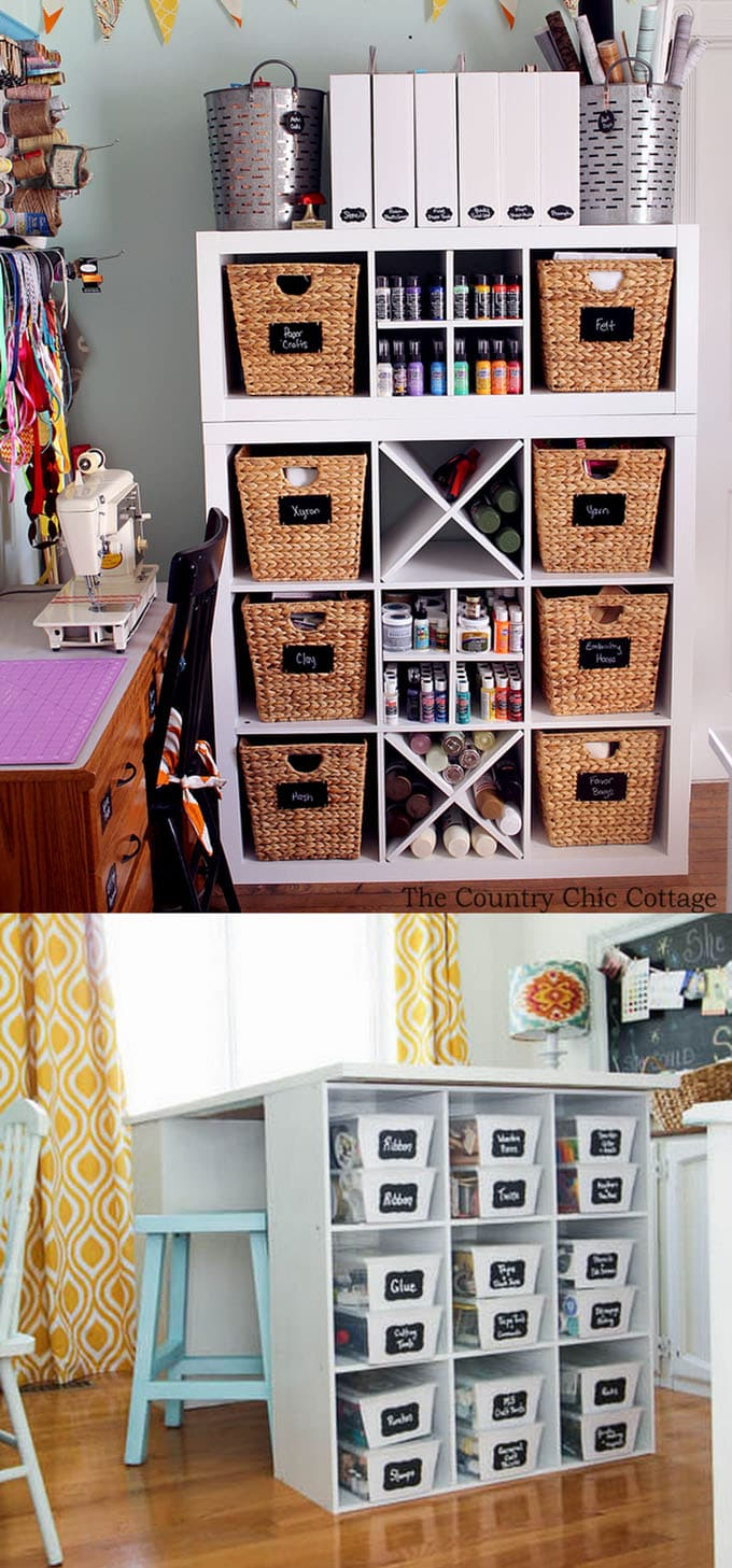 chalk lables and baskets or craft room organization