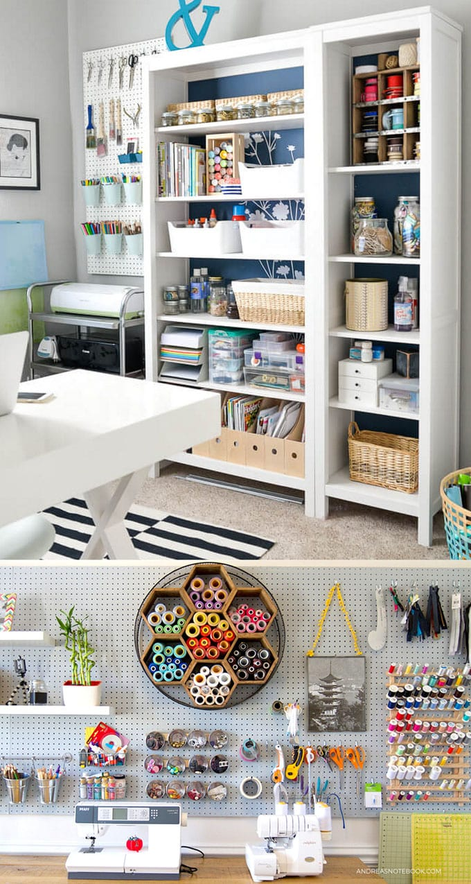 white and blue shelves as craft room furniture for storage