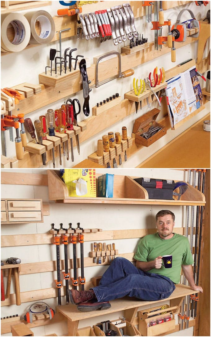 wood workshop tool organizing