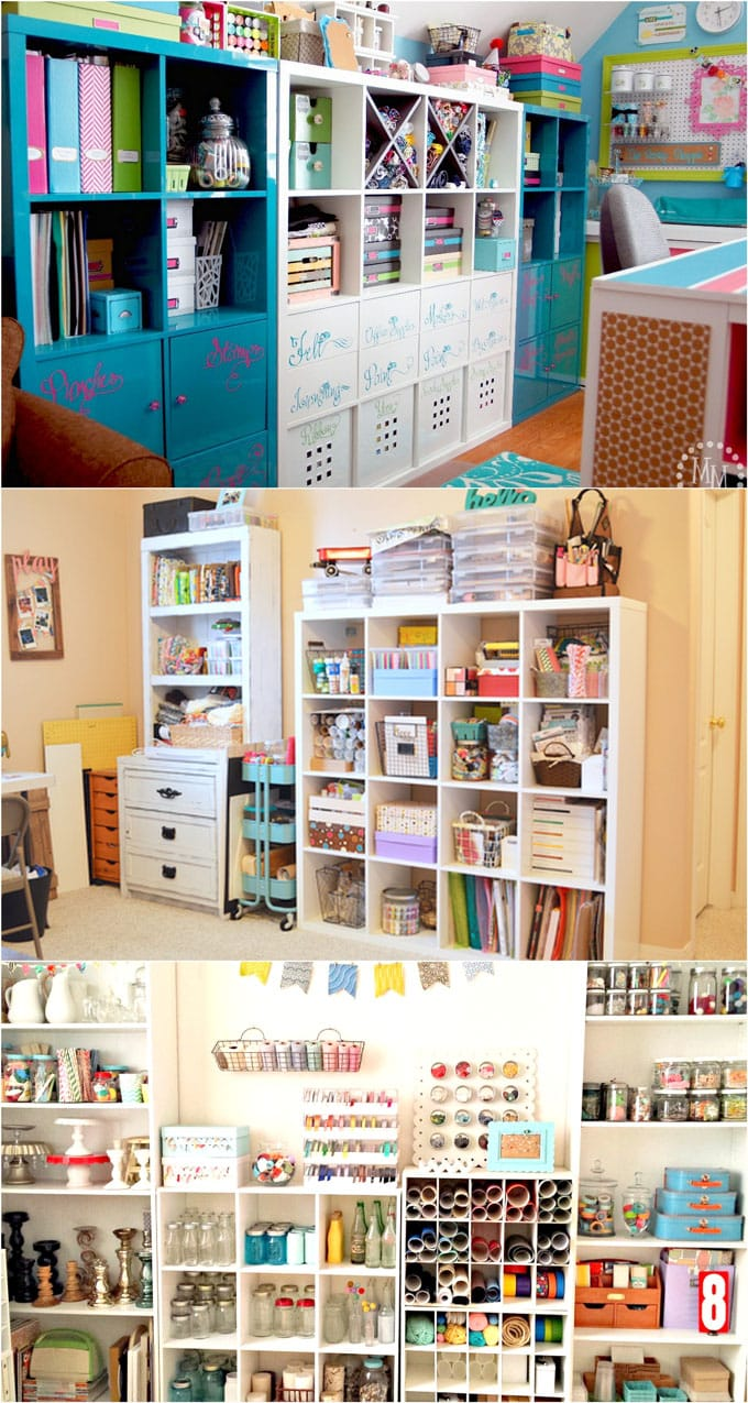book shelf and cubby shelf craft room ideas