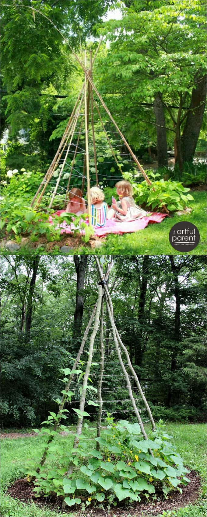Trellis Ideas For Gardens 21 easy diy garden trellis ideas vertical growing structures a a magical bean teepee is a delightful retreat for all ages all you need are a few bamboo sticks or tree branches and some twine workwithnaturefo