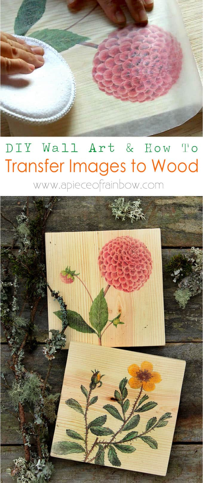 DIY Wall Art & How to Transfer Image to Wood - A Piece Of Rainbow