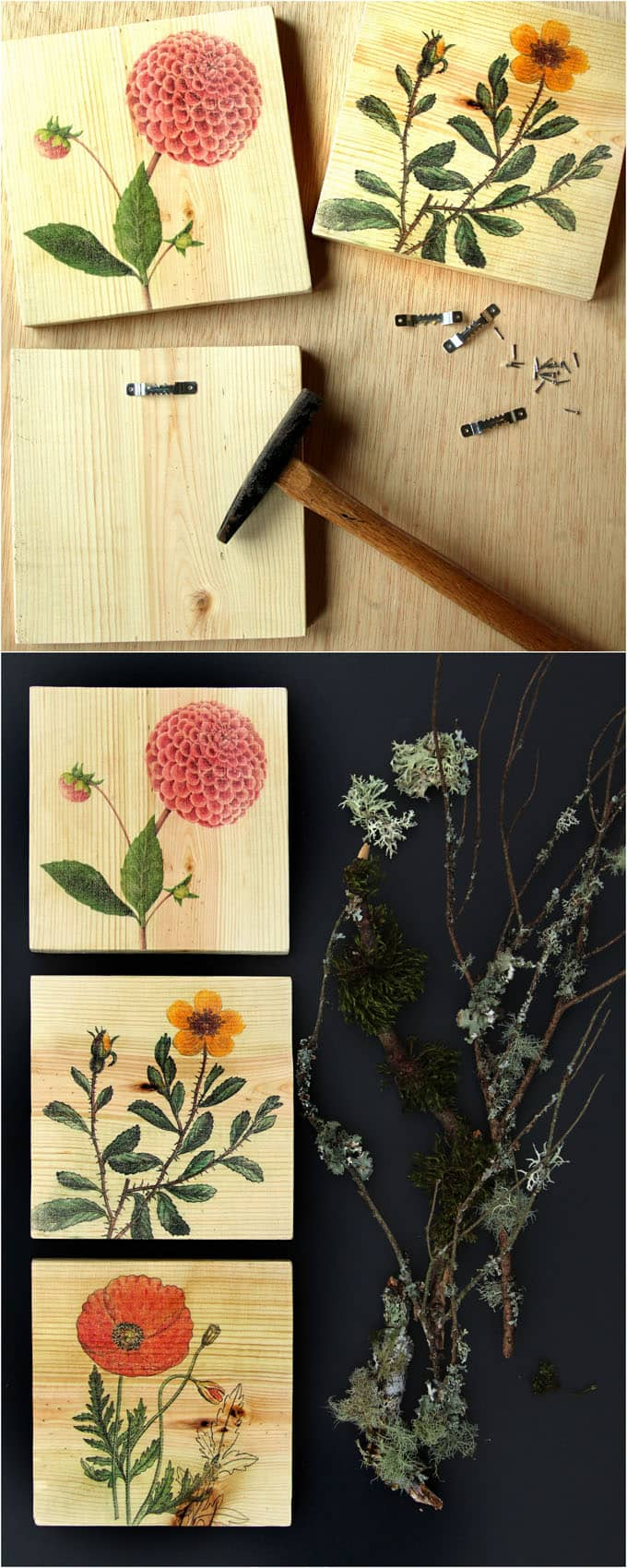 Detailed tutorial on how to transfer image to wood easily and make beautiful, one-of-a-kind printed wood wall art, home decor or gifts! - A Piece Of Rainbow