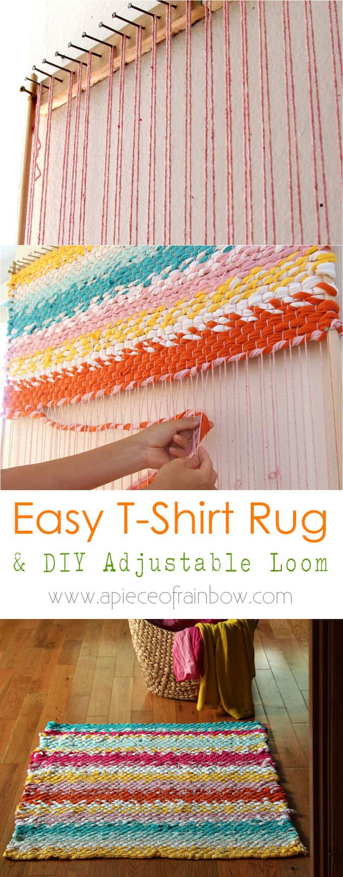 Weave a boho t shirt rag rug with easy diy loom page 2 for How to make rugs out of old t shirts