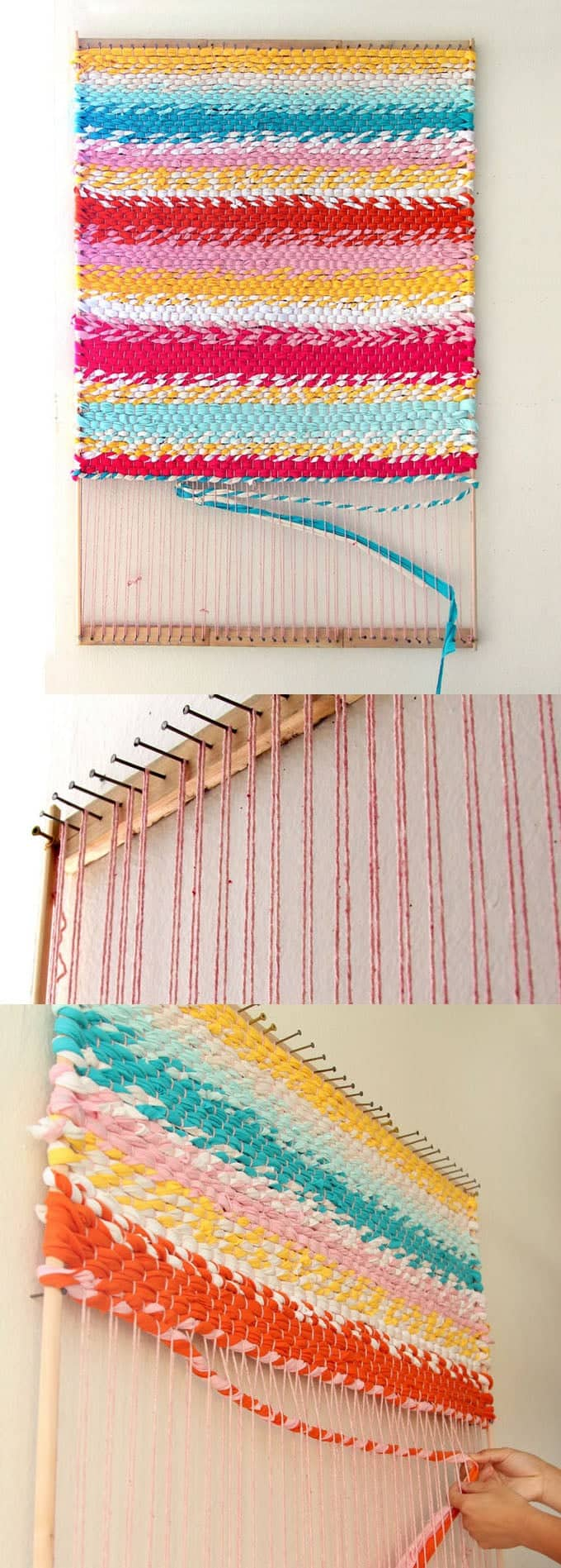Weave A Boho T Shirt Rag Rug With Easy Diy Loom A Piece Of Rainbow
