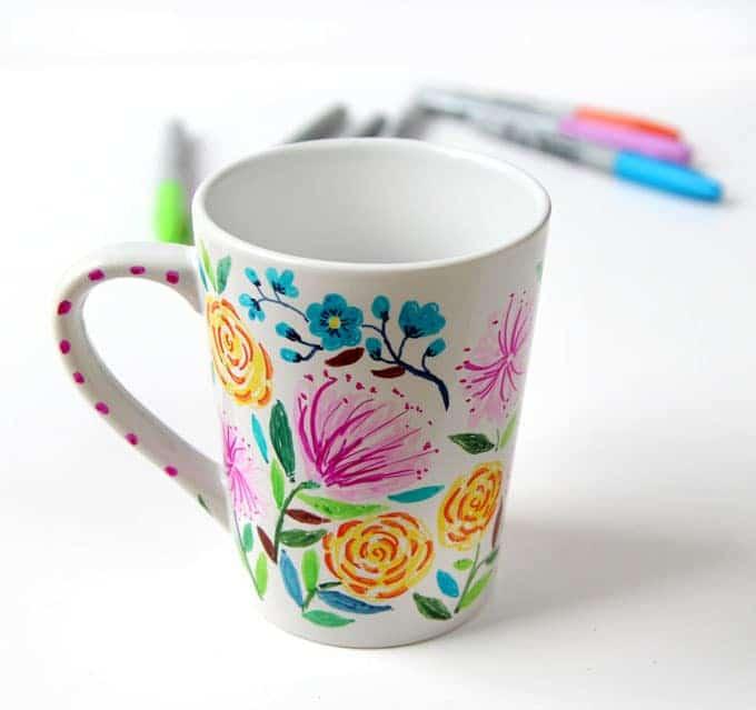Watercolor Flower Diy Sharpie Mug A