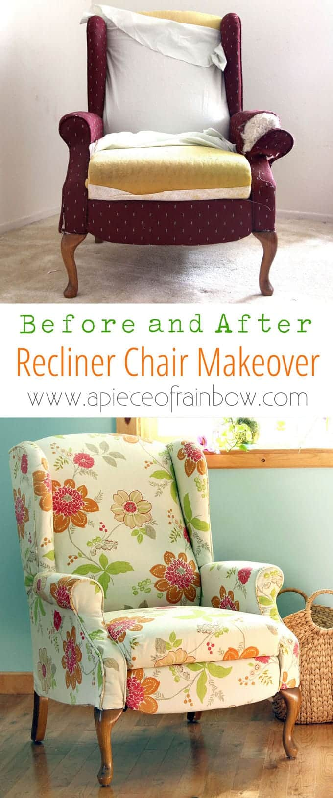 Dramatic before after transformation and detailed tutorial on how to makeover an upholstered recliner chair & Fabric Chair Makeover Before After - A Piece Of Rainbow islam-shia.org