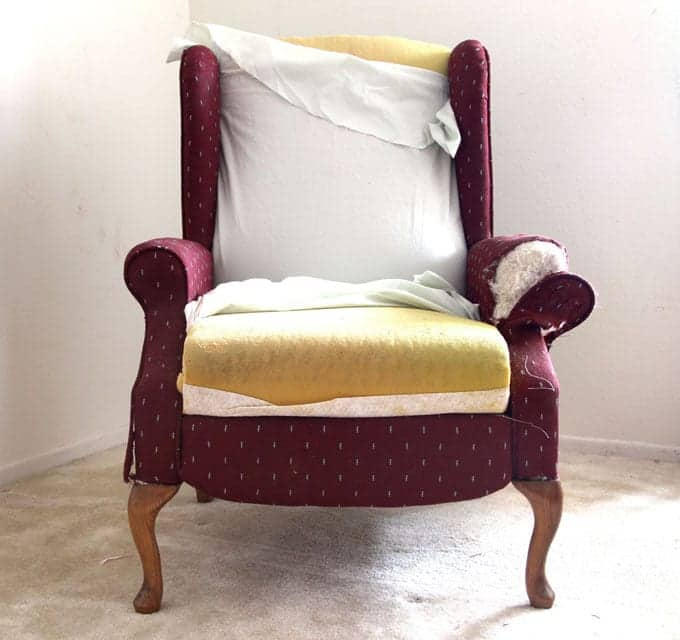 Removing old fabrics and re-upholstering a wing back recliner chair. Dramatic before after transformation and detailed tutorial on how to makeover an upholstered recliner chair, and lots of helpful tips for beginners. A Piece Of Rainbow