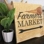 Make a gorgeous hand painted DIY Farmers Market Wood Sign from pallet wood. Perfect for farmhouse style decor! Free SVG Cut File included. - A Piece Of Rainbow
