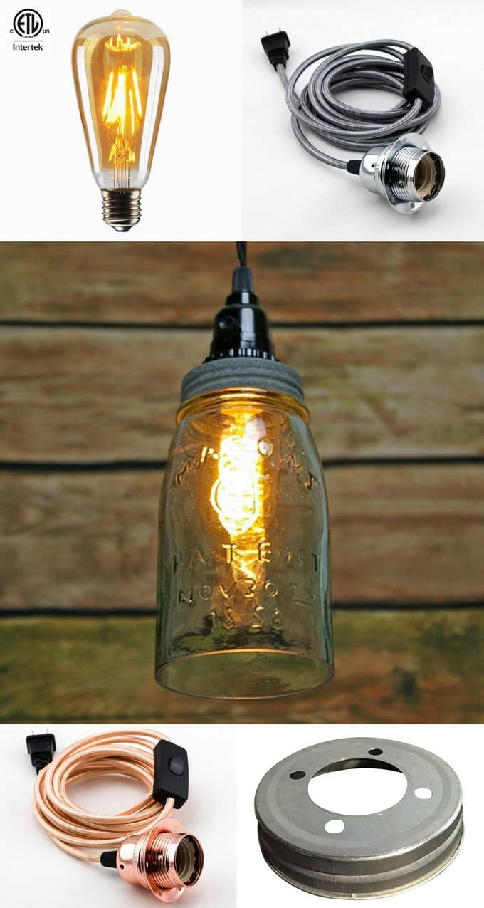 Diy mason jar lights 25 best tutorials kits supplies a we will start with this great example of a beautiful mason jar pendant light this open bottom mason jar pendant allows heat to escape which is very arubaitofo Gallery