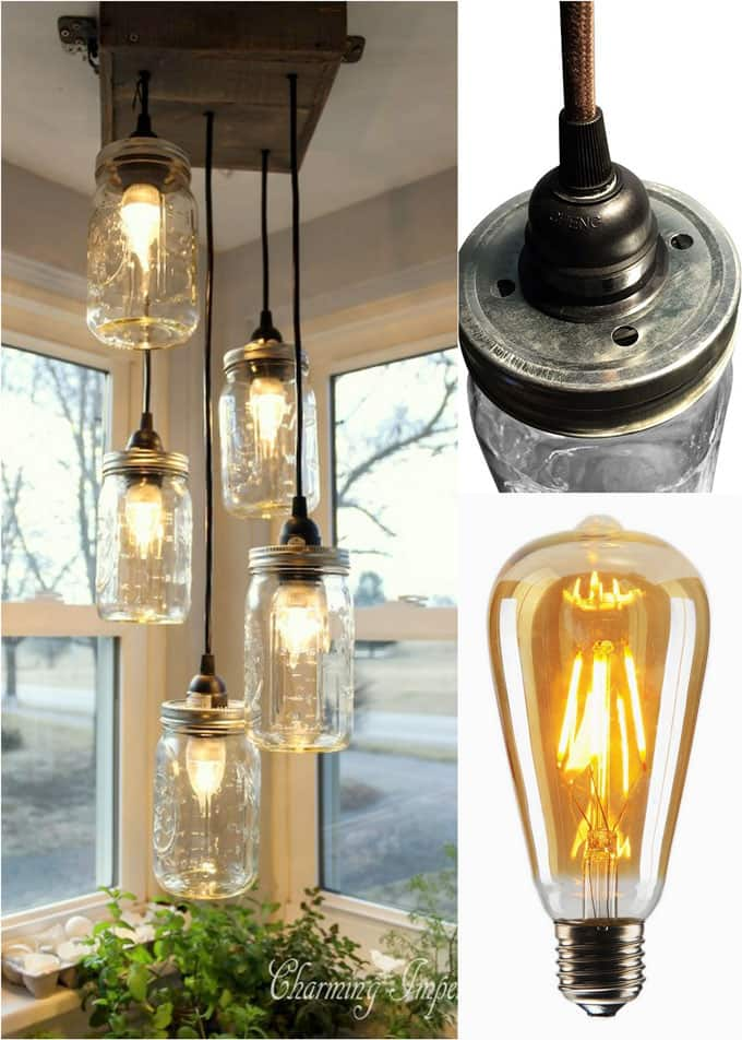Diy mason jar lights 25 best tutorials kits supplies a piece wonderful tutorial from charming imperfections on how to make a mason jar chandelier with multiple ikea hemma pendant cords and pallet wood mozeypictures Image collections