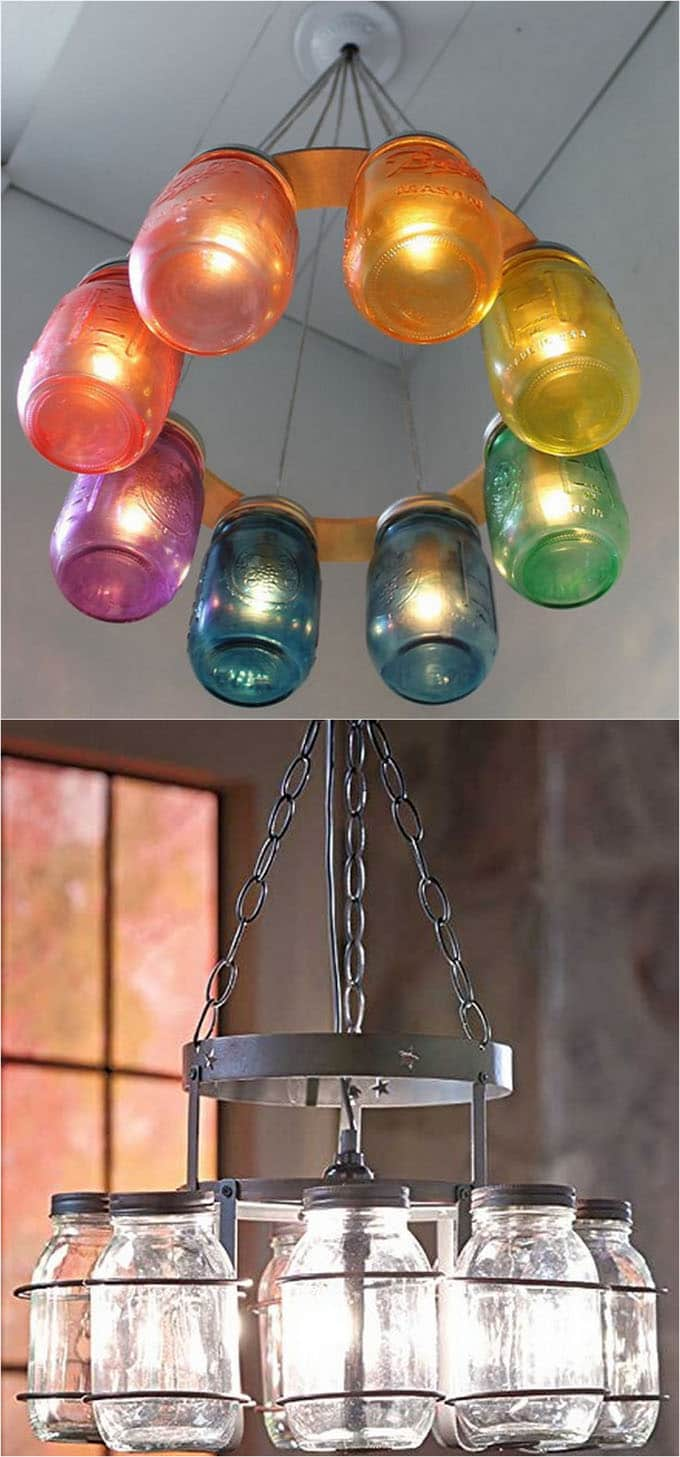 Diy mason jar lights 25 best tutorials kits supplies a make a beautiful mason jar chandelier in minutes using this really affordable wrought iron canning jar chandelier frame arubaitofo Image collections