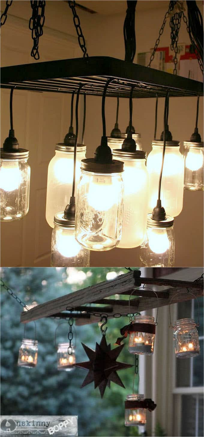 Diy mason jar lights 25 best tutorials kits supplies a hack a hanging pot rack to build this mason jar chandelier if you want a simple version beth at unskinny boppy hacked a ladder to create an outdoor mason arubaitofo Image collections