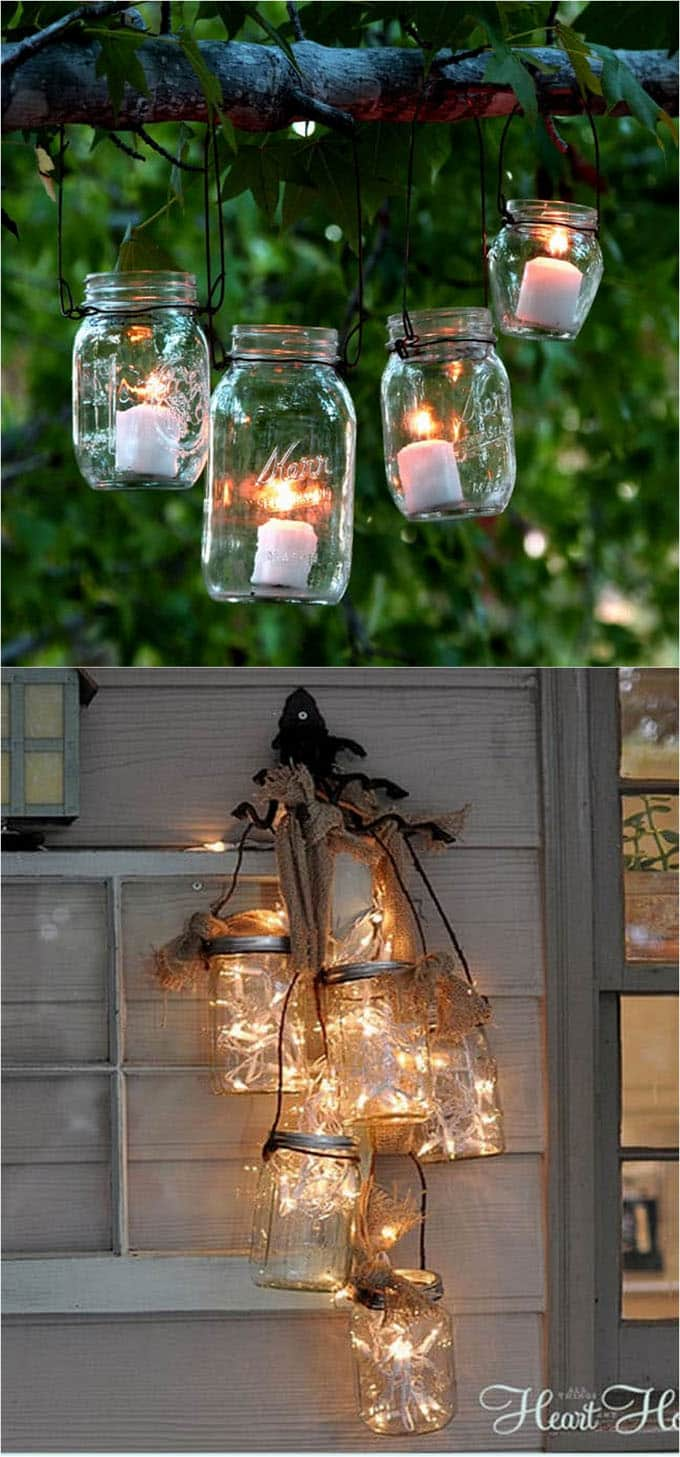 Diy mason jar lights 25 best tutorials kits supplies a piece you can add some mason jar wire handles to create enchanting lanterns make them easily using clothes hangers in this hanging mason jar lanterns tutorial arubaitofo Image collections