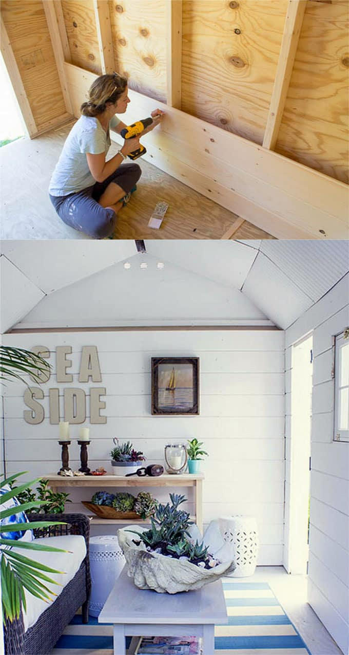 pallet building ideas. 2 . she-shed with shiplap wall pallet building ideas