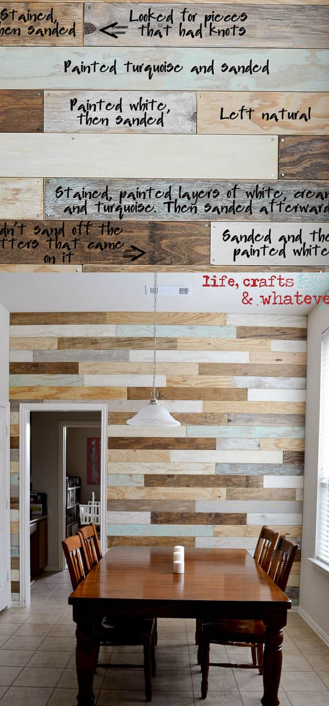 this diy plank wood wall combines the clean look of shiplap with the rustic charm of pallet wall plus a touch of weathered grey and coastal blue - Wood Pallet Wall