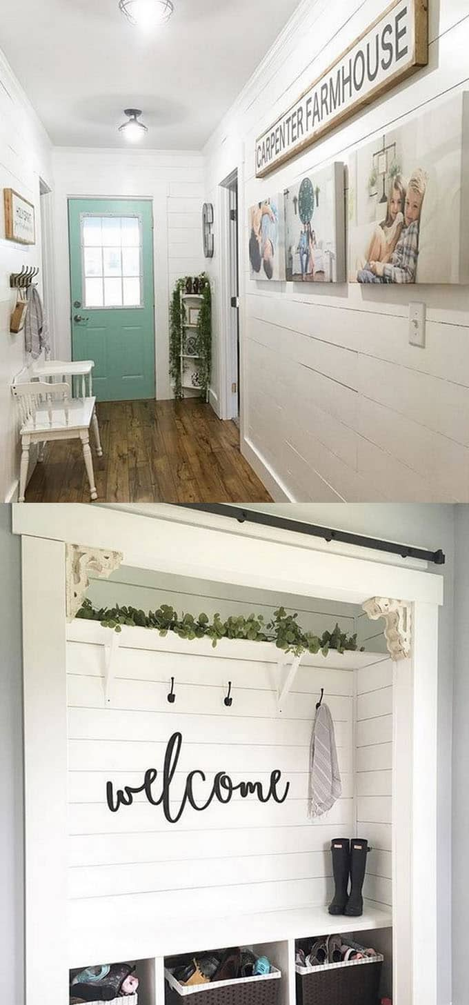 A White Painted Shiplap Wall Makes An Entryway Look And Feel Clean Bright Organized It Offers Beautiful Background To Add Your Personal Creative