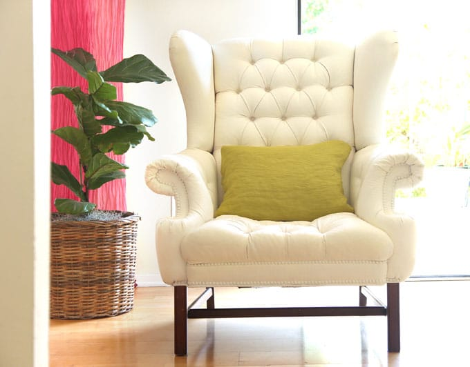 How to Paint Upholstery: Old Fabric Chair Gets Beautiful New ...