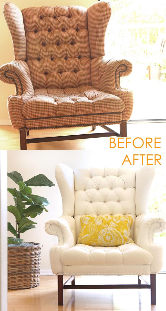 How To Paint Upholstery Old Fabric Chair Gets Beautiful
