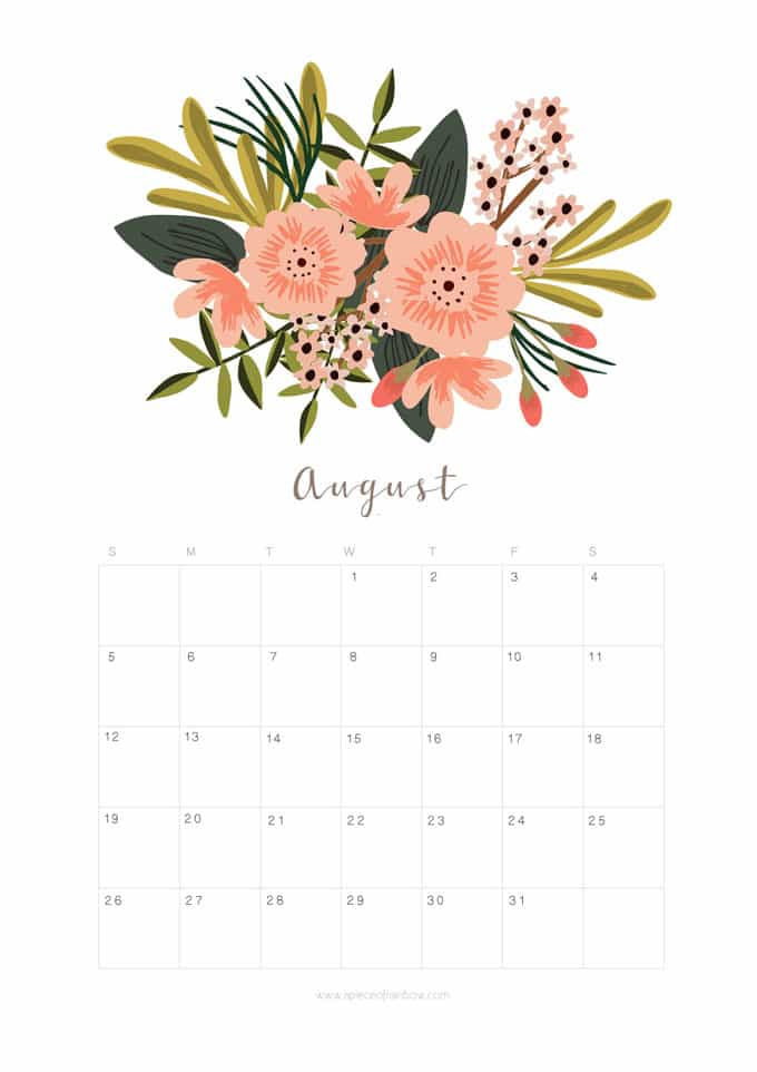 Printable August 2018 Calendar Monthly Planner - Flower Design - A ...