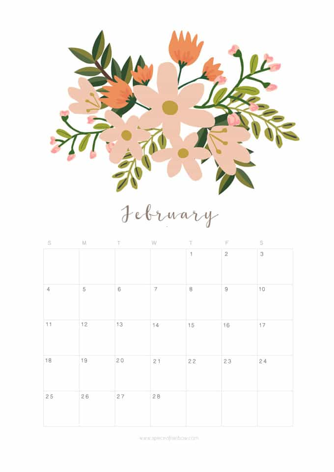 Printable February 2018 Calendar Monthly Planner Floral