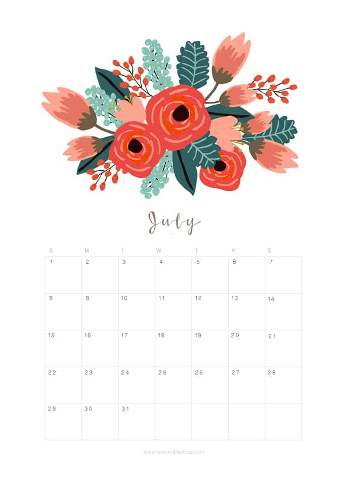 FREE PRINTABLE 2019 FLORAL CALENDAR - The Cottage Market