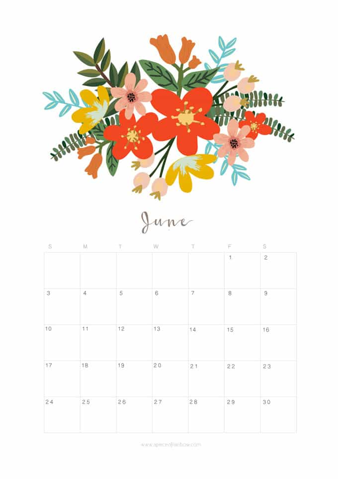 Printable June 2018 Calendar Monthly Planner - Flower ...
