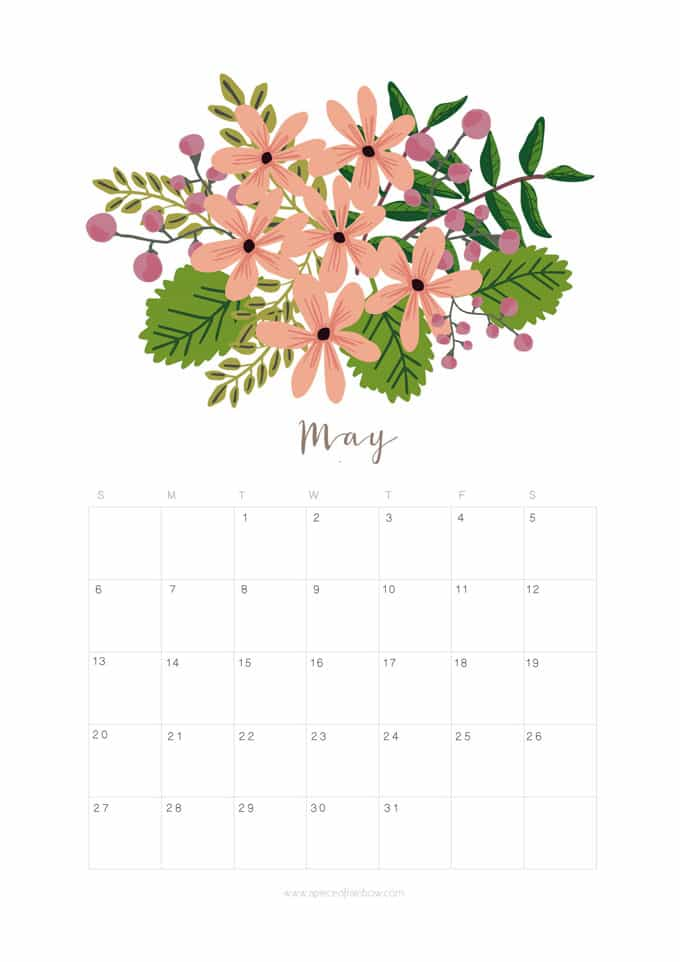Printable May 2018 Calendar Monthly Planner - Flower ...