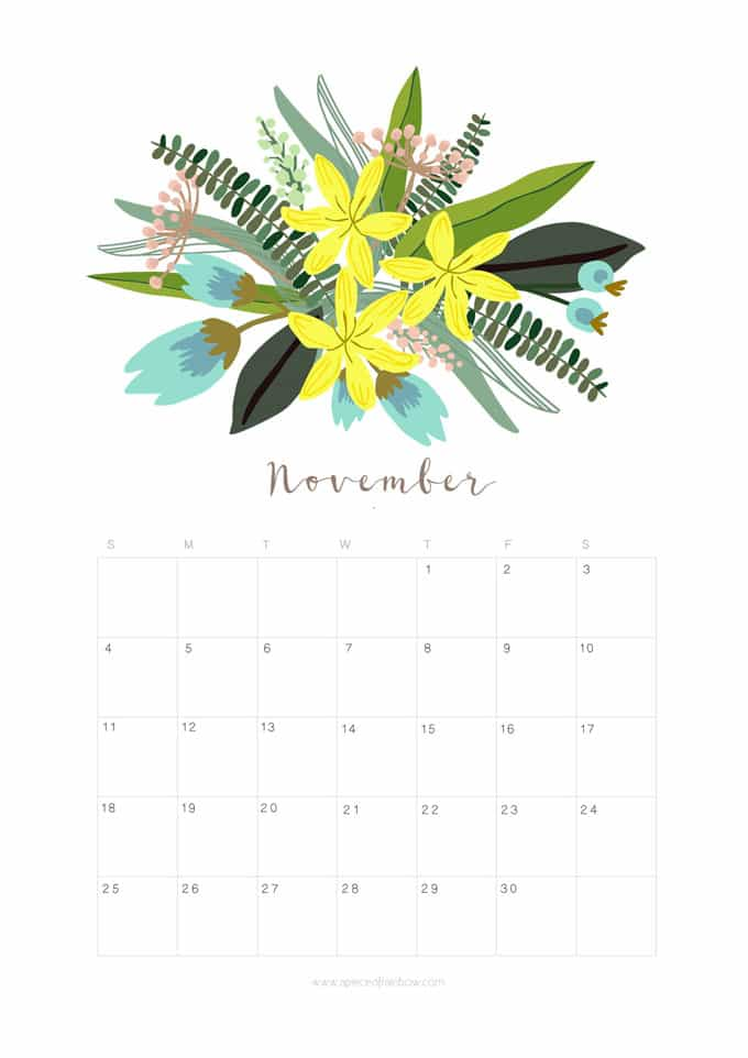 November Calendar Design : Printable november calendar monthly planner floral