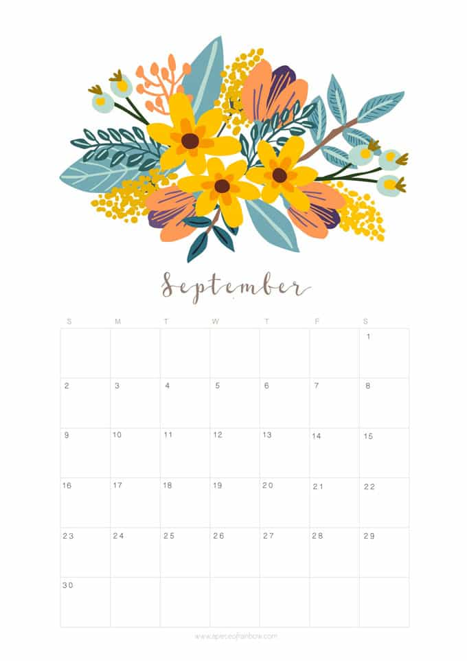 Printable September 2018 Calendar Monthly Planner - Floral ...
